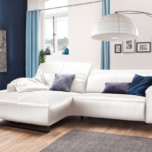 KAWOLA Sofa YORK Leder Life-line bianco Rec links Fuß Metall schwarz mit Sitztiefenverstellung