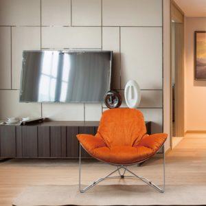 KAWOLA Sessel OSCA Loungesessel Relax-Sessel Stoff orange (B/H/T) 80x72x90cm
