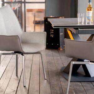 KAWOLA Stuhl STINE Esszimmerstuhl mit Drehfunktion Kunstleder grau