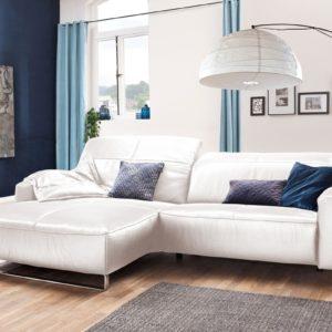 KAWOLA Sofa YORK Leder Life-line bianco Rec links Fuß Metall Chrom matt mit Sitztiefenverstellung