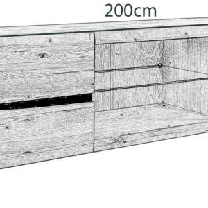 KAWOLA Lowboard YOSHA 2 Türen mit LED, Eiche 200x52x45cm