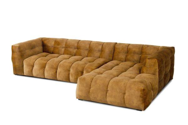 KAWOLA Sofa ROSARIO 3-Sitzer Stoff goldfarben Recamiere rechts