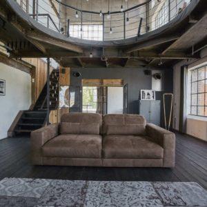Sofa Ledersofa GIGANT 3,5-Sitzer inkl. 2 Kissen Leder dunkelbraun