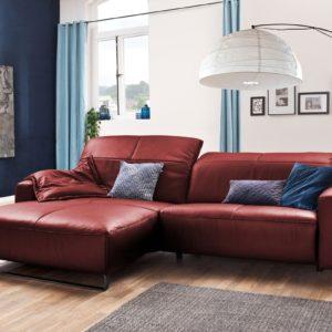KAWOLA Sofa YORK Leder Life-line cherry Rec links Fuß Metall schwarz mit Sitztiefenverstellung