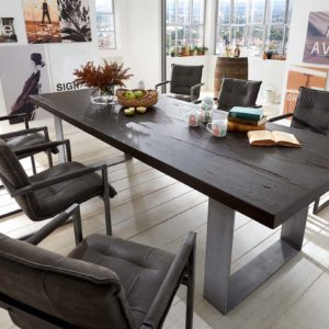 KAWOLA Esszimmertisch SHON Tisch Eiche massiv schwarz 280x110cm