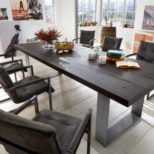 KAWOLA Esszimmertisch SHON Tisch Eiche massiv schwarz 180x110cm