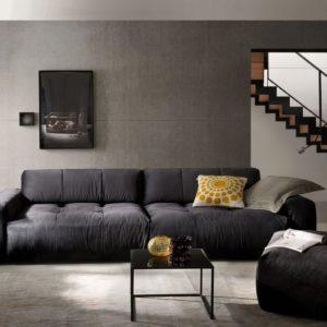 KAWOLA Sofa PALACE Stoff velvet schwarz