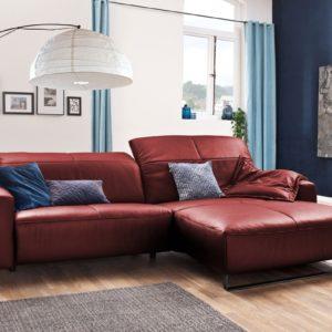 KAWOLA Sofa YORK Leder Life-line cherry Rec rechts Fuß Metall schwarz mit Sitztiefenverstellung