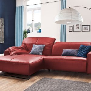 KAWOLA Sofa YORK Leder Life-line rot Rec links Fuß Metall schwarz mit Sitztiefenverstellung