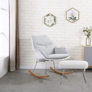 KAWOLA Sessel SONNY Schaukelstuhl Stoff grau mit weißer Schale inklusive Hocker
