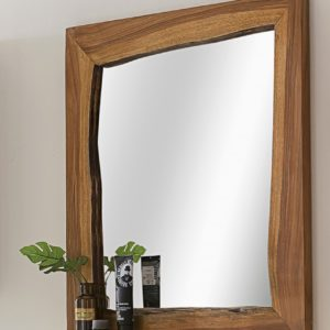 KAWOLA Badezimmer Spiegel Loft Edge Akazie Massiv-Holz Baumkante B/H/T: 70x78x12cm