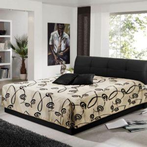 Polsterbett ELEA Kunstleder schwarz Bett inkl. Tagesdecke 140x200cm