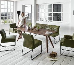 KAWOLA Essgruppe LAMIS inkl. 2 Stühlen ohne Armlehne, 2 Stühle mit Armlehne und Esszimmerbank
