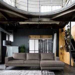 KAWOLA Sofa BLOOM Recamiere rechts Leder Retro dunkelbraun