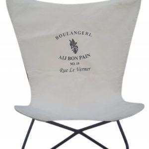 SIT Stuhl Butterfly Sessel Bezug Canvas weißgrau