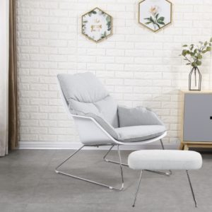 KAWOLA Sessel SONNY Relaxsessel Stoff grau mit weißer Schale inklusive Hocker
