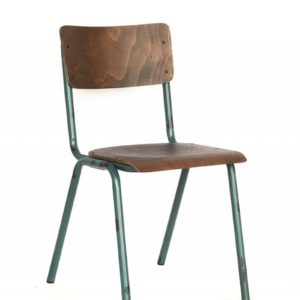KAWOLA 4er Set Klassenzimmerstuhl Vintage DISCERE Stuhl Metallgestell blau