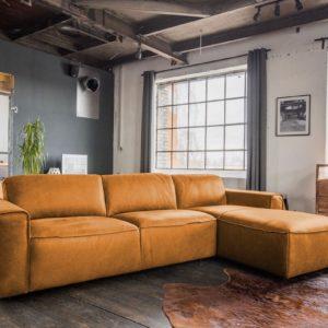 KAWOLA Ecksofa EXTRA Sofa Leder cognac Recamiere rechts klein mit manueller Sitztiefenverstellung