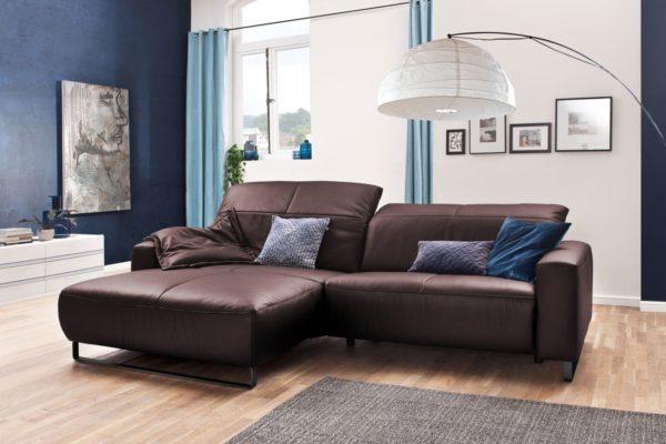 KAWOLA Sofa YORK Leder Life-line bordeaux Recamiere links Fuß Metall schwarz