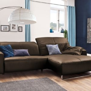 KAWOLA Sofa YORK Leder Life-line hasel Rec rechts Fuß Metall Chrom matt mit Sitztiefenverstellung
