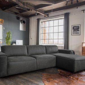 KAWOLA Ecksofa EXTRA Sofa Leder grau Recamiere rechts klein mit manueller Sitztiefenverstellung