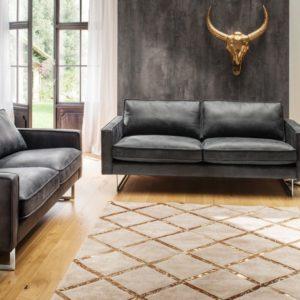 KAWOLA Sofa-Garnitur ALINE 3 teilig 3,5-Sitzer, 2,5-Sitzer und Sessel Leder graphit