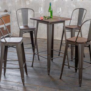 KAWOLA Sitzgruppe Bartisch VILDA 4x Stuhl ELI