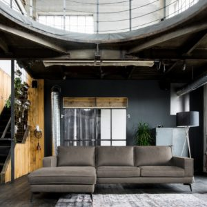KAWOLA Sofa BLOOM Recamiere links Leder Retro dunkelbraun