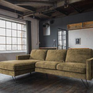 KAWOLA Ecksofa ELINA Sofa Recamiere links Velvet moosgrün (B/T):242x176cm