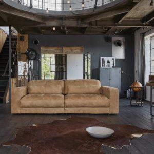 Sofa Ledersofa GIGANT 3,5-Sitzer inkl. 2 Kissen Leder hellbraun