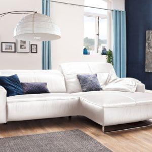 KAWOLA Sofa YORK Leder Life-line bianco Rec rechts Fuß Metall Chrom matt mit Sitztiefenverstellung