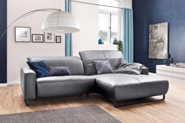 KAWOLA Sofa YORK Leder Life-line light-grey Recamiere rechts Fuß Metall schwarz