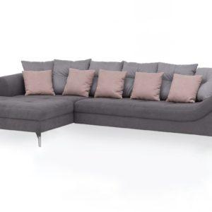 KAWOLA Ecksofa TENIO Sofa Recamiere links Stoff grau/rosa