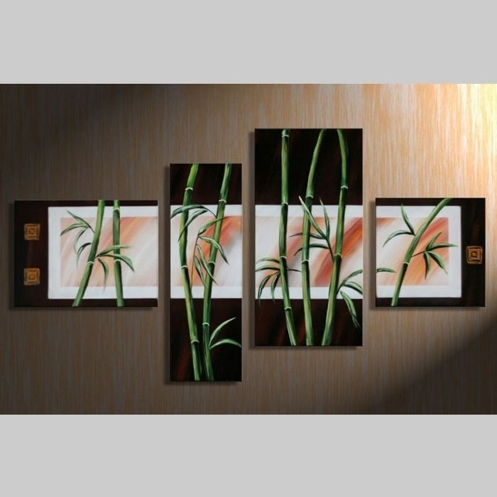 4 Leinwandbilder BAMBUS (3) 120 x 70cm Handgemalt