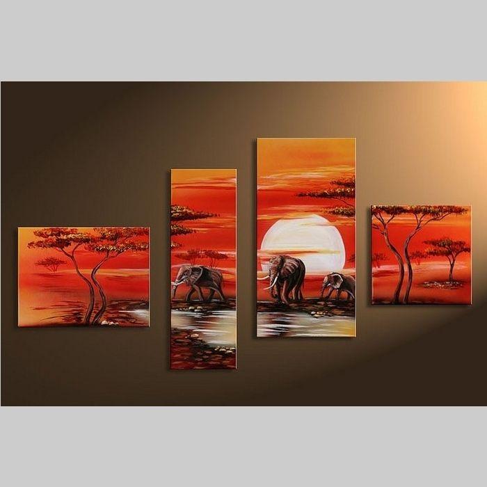 4 Leinwandbilder AFRIKA Elefant (4) 120 x 70cm Handgemalt