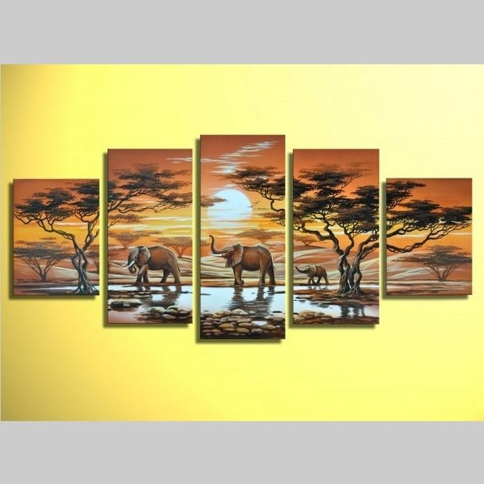 5 Leinwandbilder AFRIKA Elefant (6) 150 x 70cm Handgemalt