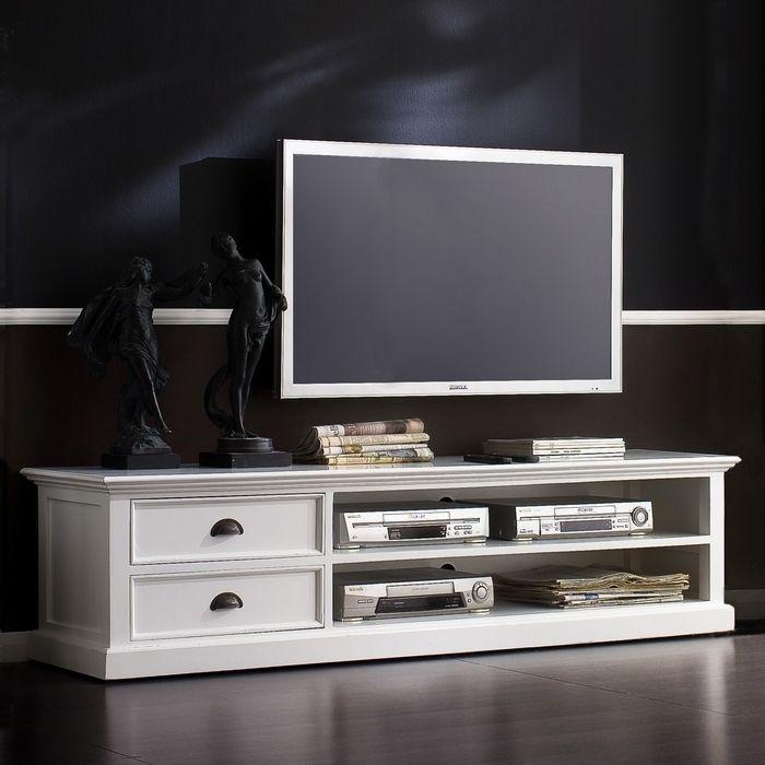 Mahagoni TV-Tisch JOSEPHINE Antikweiß 180 x 45cm