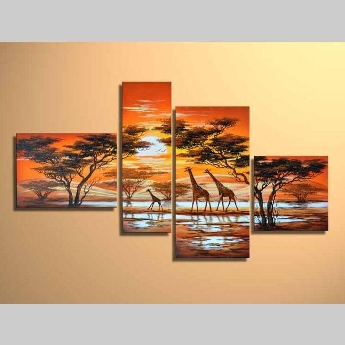 4 Leinwandbilder AFRIKA Giraffe (2) 120 x 70cm Handgemalt