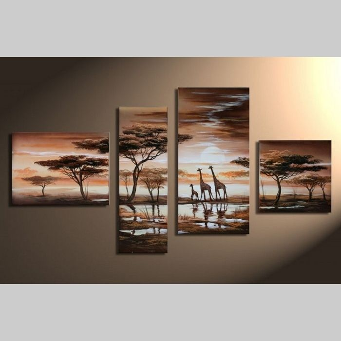 4 Leinwandbilder AFRIKA Giraffe (3) 120 x 70cm Handgemalt