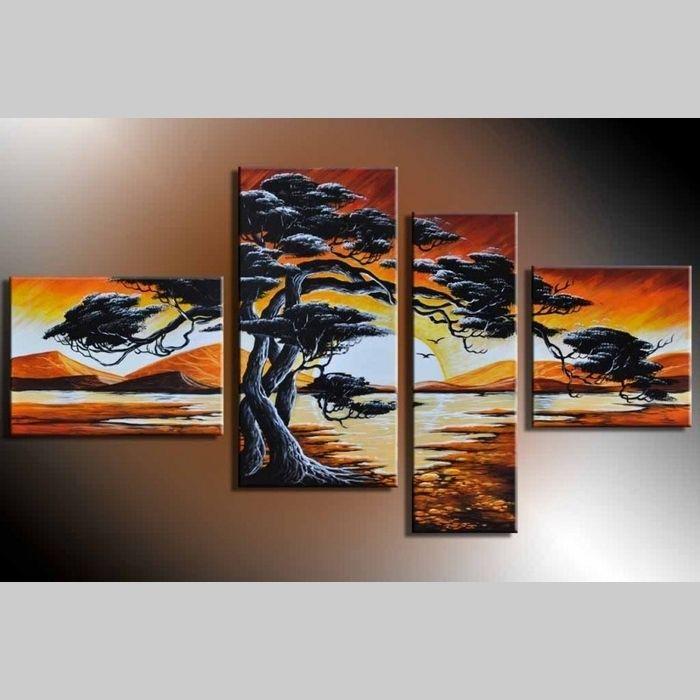 4 Leinwandbilder AFRIKA Baum (15) 120 x 70cm Handgemalt