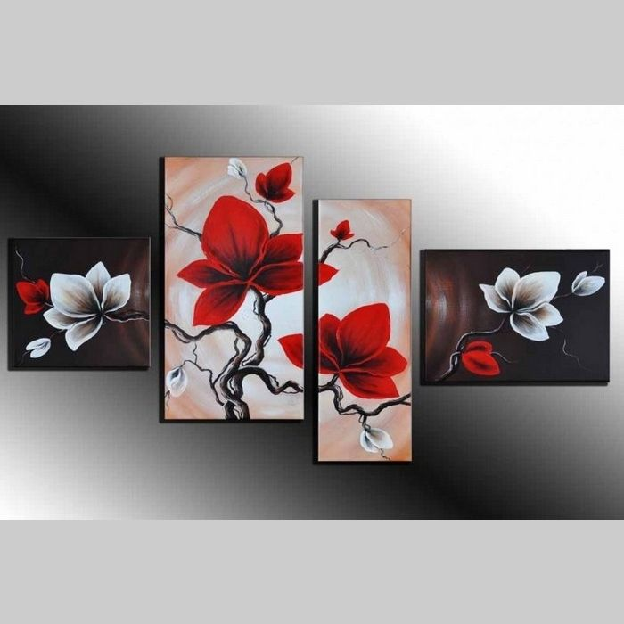 4 Leinwandbilder MAGNOLIA (1) 120 x 70cm Handgemalt