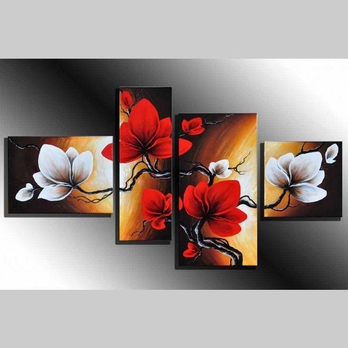 4 Leinwandbilder MAGNOLIA (2) 120 x 70cm Handgemalt