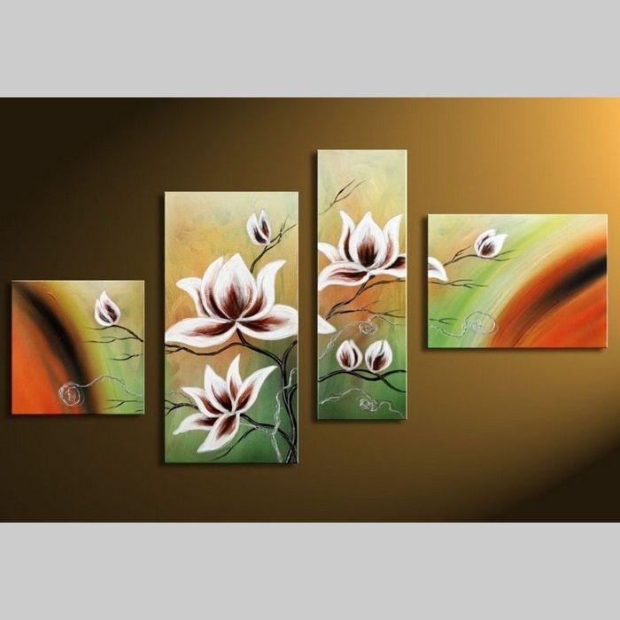 4 Leinwandbilder MAGNOLIA (9) 120 x 70cm Handgemalt