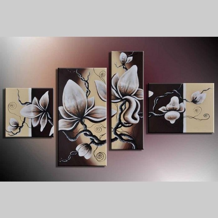 4 Leinwandbilder MAGNOLIA (16) 120 x 70cm Handgemalt