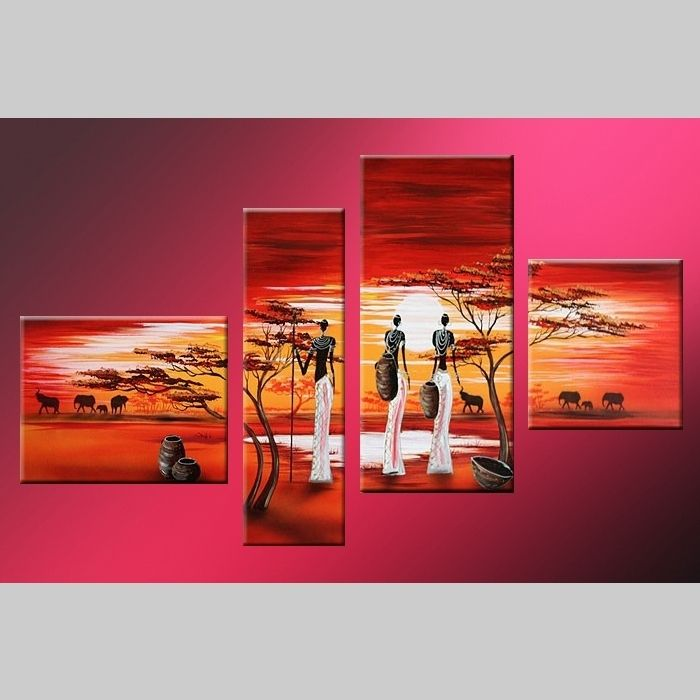 4 Leinwandbilder AFRIKA Frau (3) 120 x 70cm Handgemalt