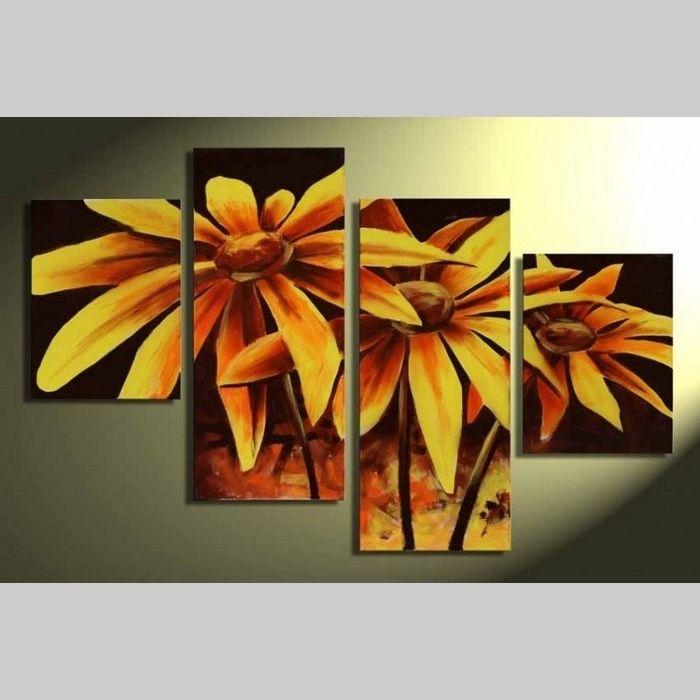4 Leinwandbilder BLUMEN (1) 120 x 80cm Handgemalt