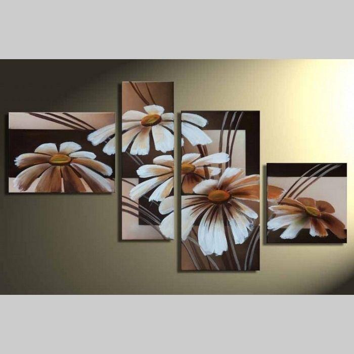 4 Leinwandbilder BLUMEN (2) 120 x 70cm Handgemalt