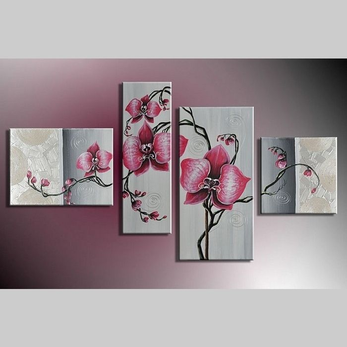 4 Leinwandbilder BLUMEN (4) 120 x 70cm Handgemalt