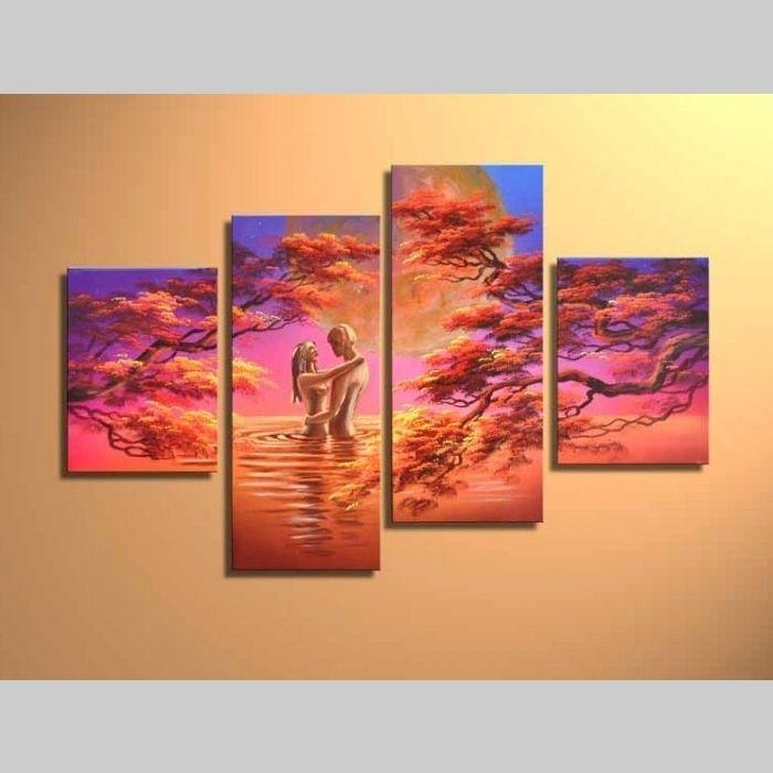 4 Leinwandbilder LIEBESPAAR (1) 120 x 80cm Handgemalt