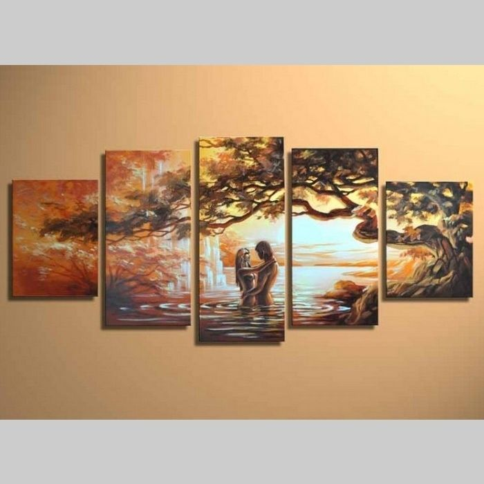 5 Leinwandbilder LIEBESPAAR (3) 150 x 70cm Handgemalt